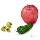 綱嶋悳子:リンゴとピーマンとミニトマト