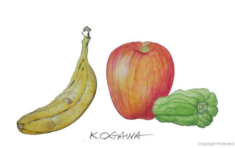 果物とピーマン(小川和彦)