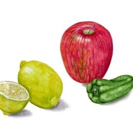 森田美智子201810リンゴとピーマンとレモン
